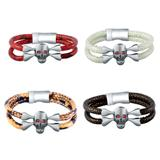 Stainless Steel Skull Leather Bracelet B053 VNISTAR Steel Men's Bracelets