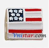 Alloy American flag Enamel European Beads PBD172 VNISTAR Alloy Enamel Beads