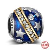 Silver and Gold Star 925 Sterling Silver European Beads S005I VNISTAR 925 Silver Charms