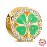 Four-Leaf Clover Gold Plated 925 Sterling Silver European Beads S011G-2 VNISTAR 925 Silver Charms