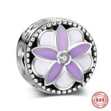 Purple Flower 925 Sterling Silver Charms S012 VNISTAR Silver Flower Animal Charms