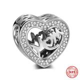 Heart MOM 925 Sterling Silver Charms S020 VNISTAR Silver Love Family Charms