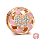 Endless Love Rose Gold Plated 925 Sterling Silver European Charm S021R VNISTAR 925 Silver Charms
