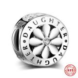 Flower Daughter 925 Sterling Silver Charms S022 VNISTAR Silver Love Family Charms