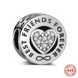 925 Sterling Silver Best Friends Beads S023 VNISTAR Silver Love Family Charms