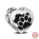 Love Heart Paw 925 Sterling Silver Charms S026 VNISTAR Silver Love Family Charms