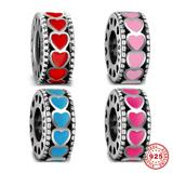 Red Enamel Heart 925 Sterling Silver Spacer Charms S041 VNISTAR Silver Love Family Charms
