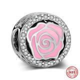 Pink Rose 925 Sterling Silver European Beads S042 VNISTAR 925 Silver Charms