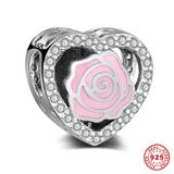 Pink Rose Heart 925 Sterling Silver European Beads S043 VNISTAR 925 Silver Charms
