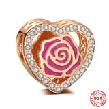 Rose Rose Gold Plated 925 Sterling Silver European Charm S043R VNISTAR 925 Silver Charms