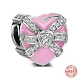 Pink Gift Box 925 Sterling Silver European Charm S046-1 VNISTAR Silver Love Family Charms