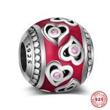 Heart Enamel 925 Sterling Silver European Beads S049-1 VNISTAR 925 Silver Charms
