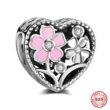Heart Flower 925 Sterling Silver European Beads S053 VNISTAR 925 Silver Charms