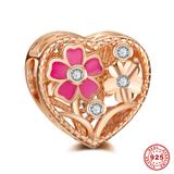 Flower Rose Gold Plated 925 Sterling Silver European Charm S053R VNISTAR 925 Silver Charms