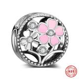 Flower 925 Sterling Silver European Beads S054 VNISTAR 925 Silver Charms