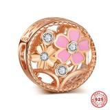 Flower Rose Gold Plated 925 Sterling Silver European Charm S054R VNISTAR 925 Silver Charms