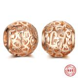 Love Family Rose Gold Plated 925 Sterling Silver European Beads S058R VNISTAR 925 Silver Charms