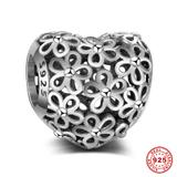 Flower 925 Sterling Silver European Charm S066 VNISTAR Silver Flower Animal Charms