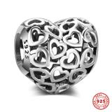 Heart Love 925 Sterling Silver European Charm S067 VNISTAR 925 Silver Charms