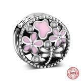 Garden 925 Sterling Silver European Charm S071 VNISTAR Silver Flower Animal Charms